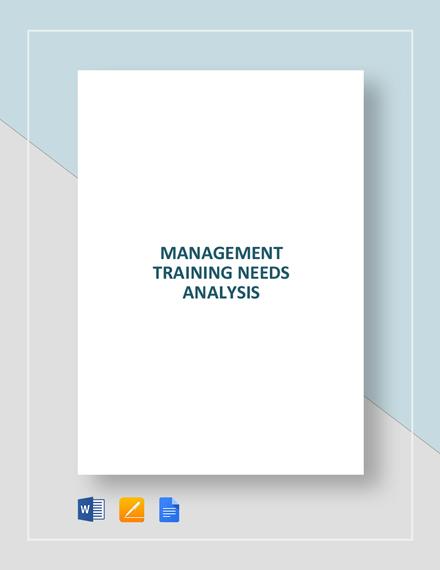 Management Training Needs Analysis
