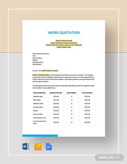 Work Quotation Template