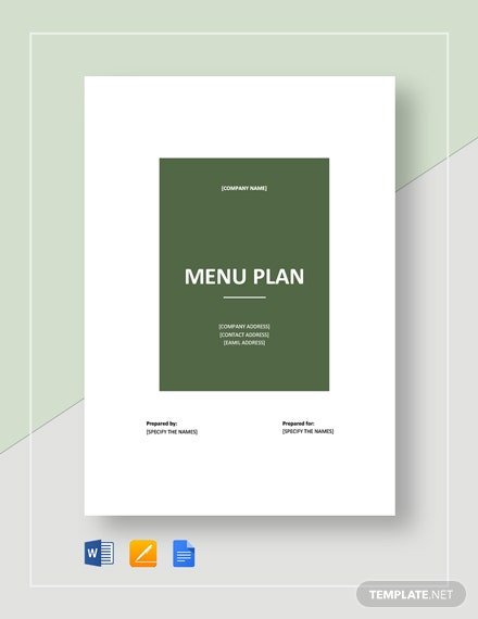 Menu Plan Template