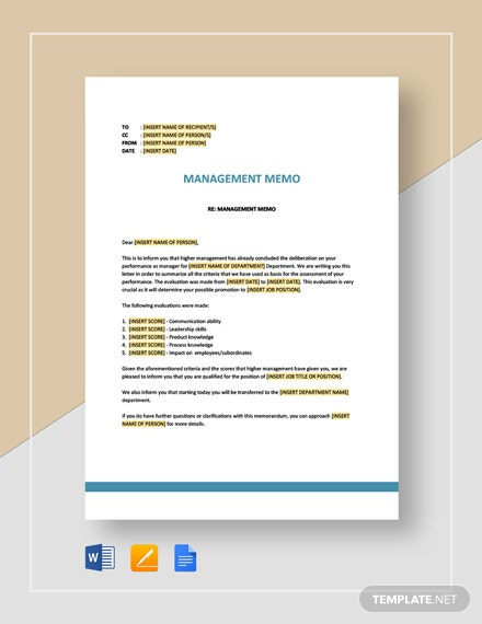 Management Memo Template