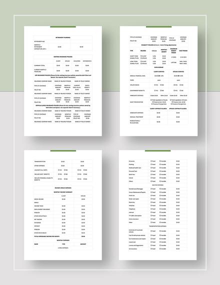 Simple Financial Needs Analysis