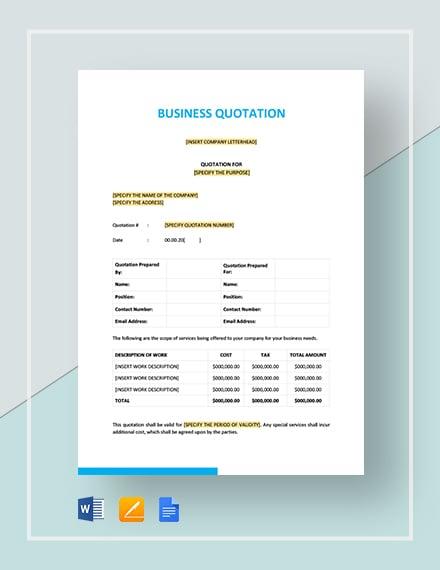 Business Quotation