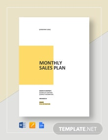 Monthly Sales Plan Template