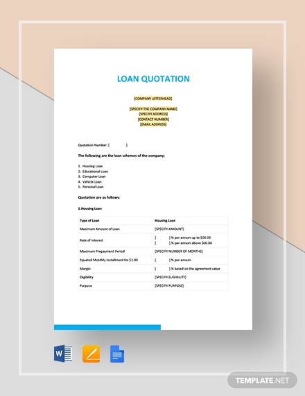 Loan Quotation Template