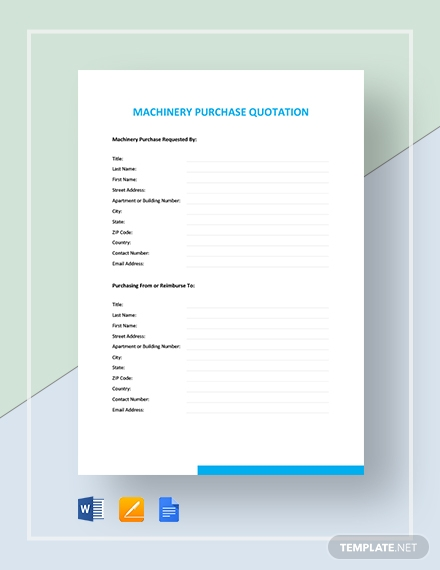 Machinery Purchase Quotation Template  - Google Docs, Word, Apple Pages