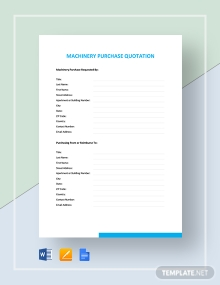 Machinery Purchase Quotation Template