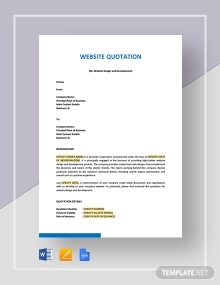 Website Quotation Template