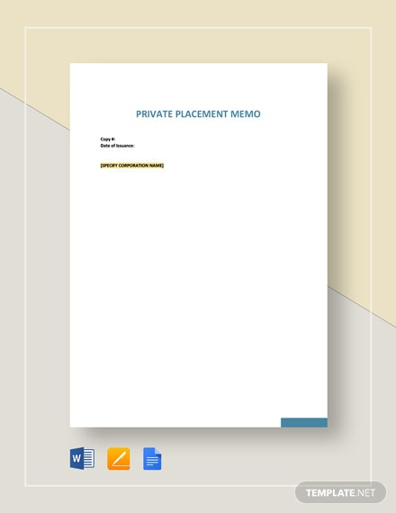 Private Placement Memo Template