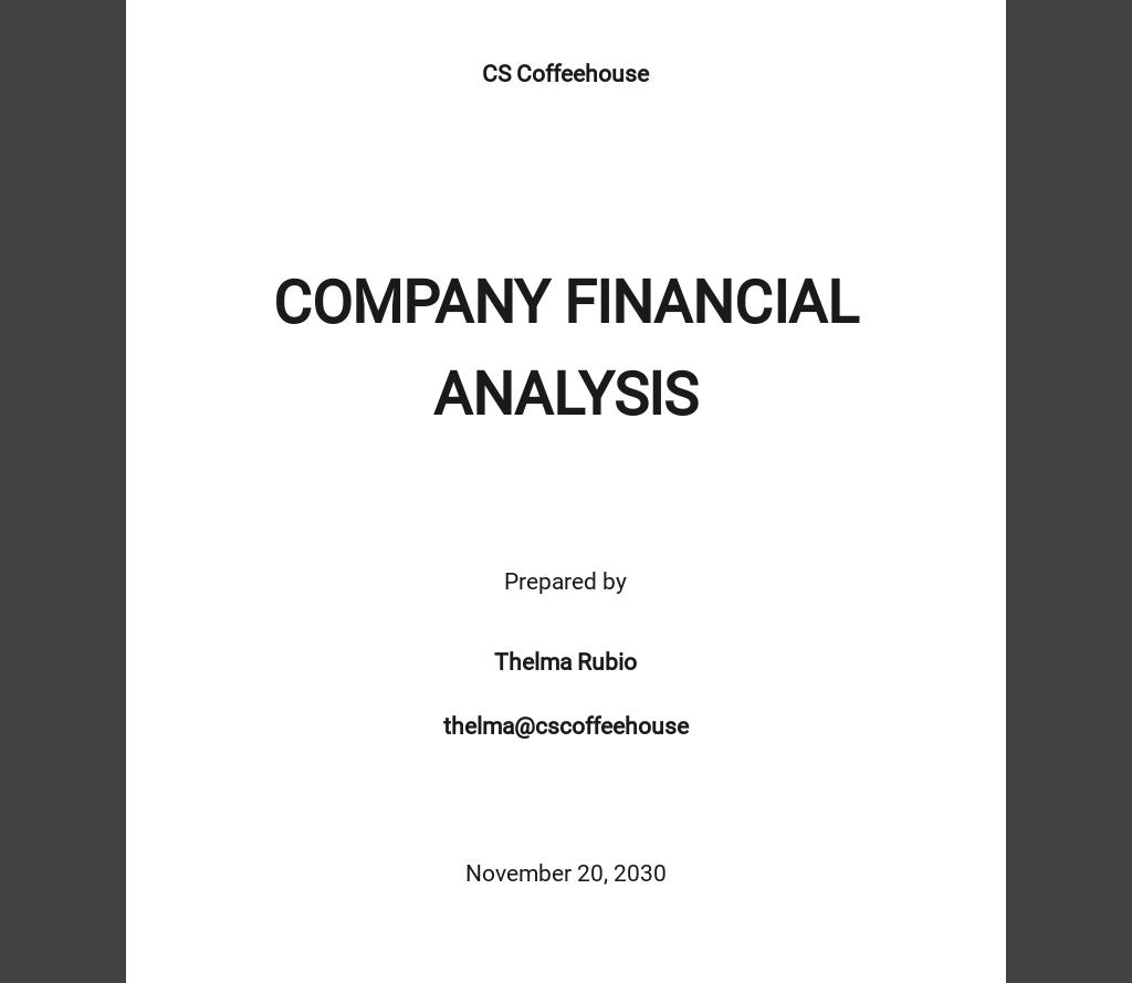 Company Financial Analysis Template