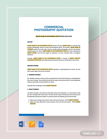 Commercial Photography Quotation Template