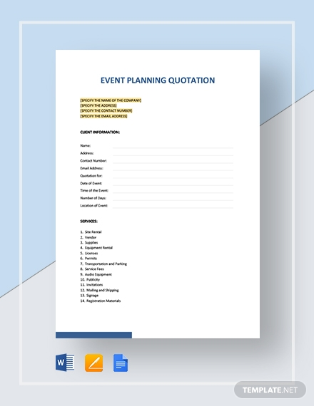 Event Planning Quotation Template