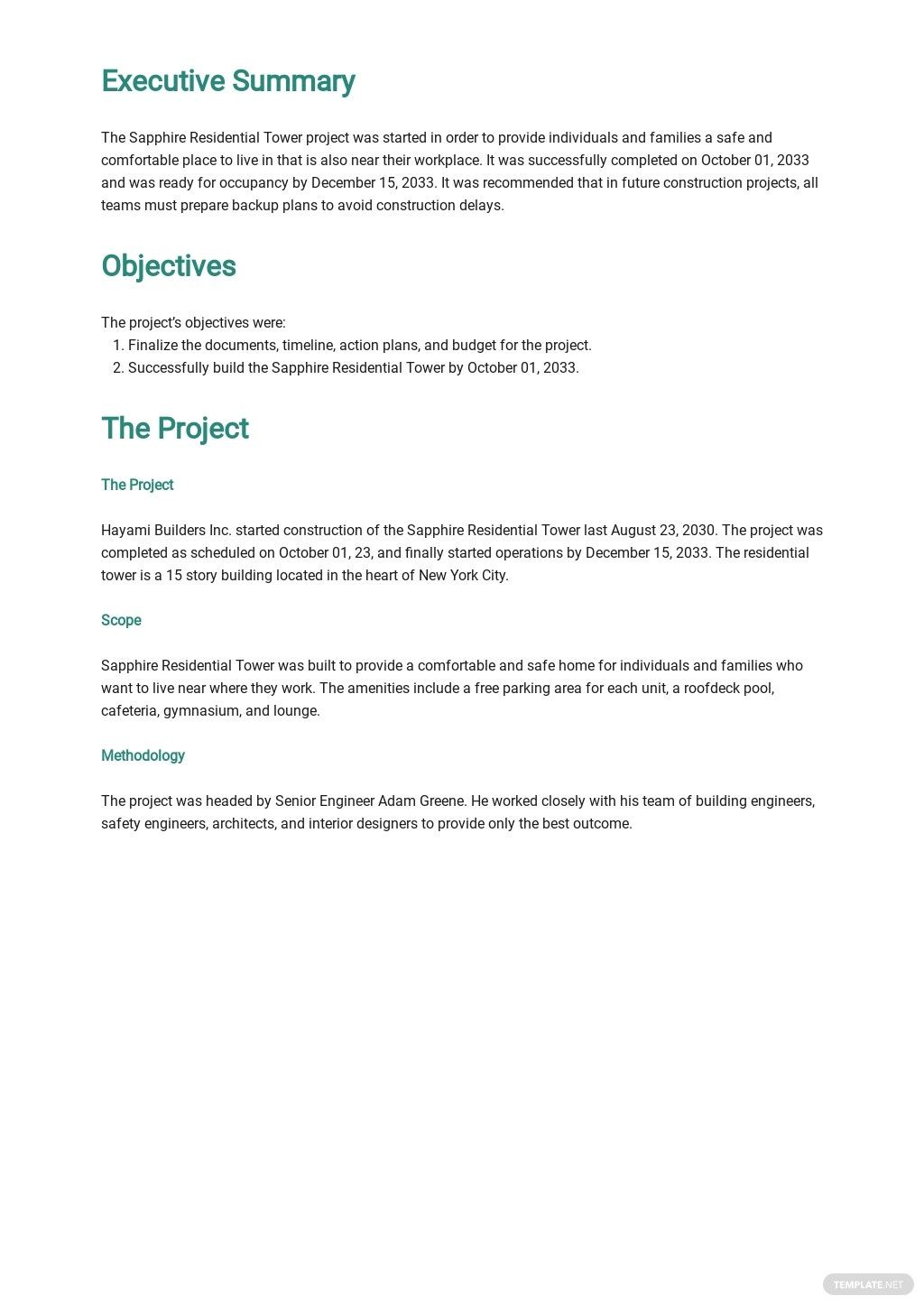 Construction Project Report Template [Free PDF] - Google Docs, Word