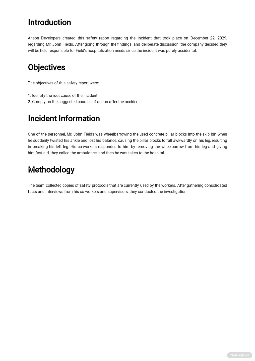 Free Safety Report Template 1.jpe