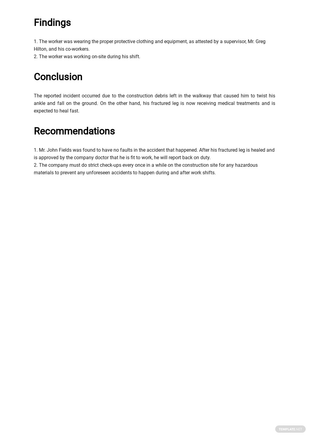 Free Safety Report Template 2.jpe