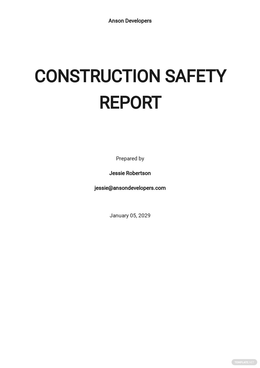 Safety Report Template
