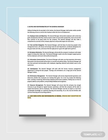 General Manager Employment Contract Download