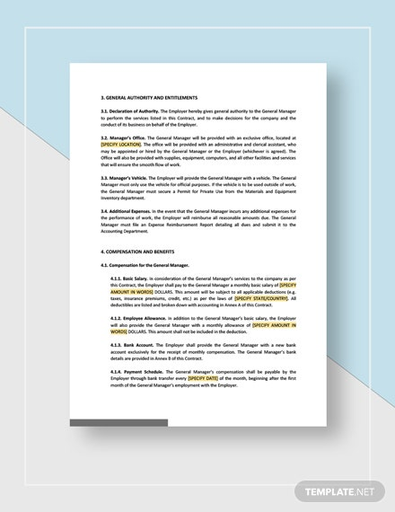 Sample General Manager Employment Contract