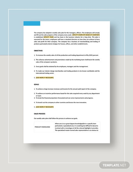 Weekly Sales Plan Template - Word (DOC) | Google Docs ...