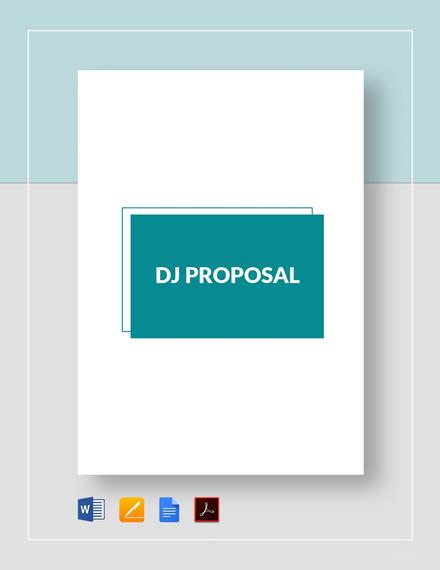 DJ Proposal Template