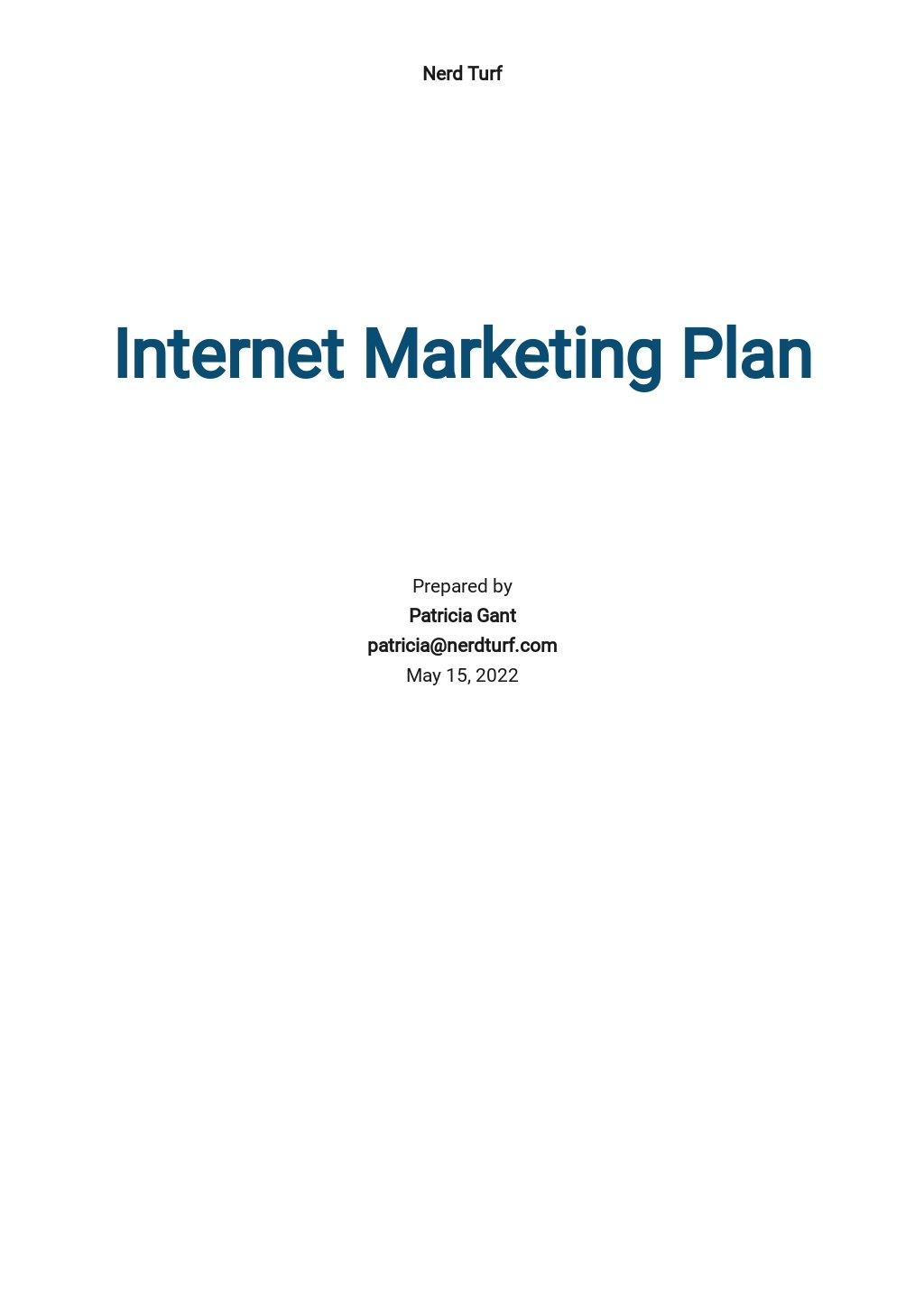 Internet Marketing Plan Template