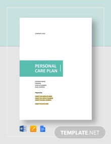 Personal Care Plan Template