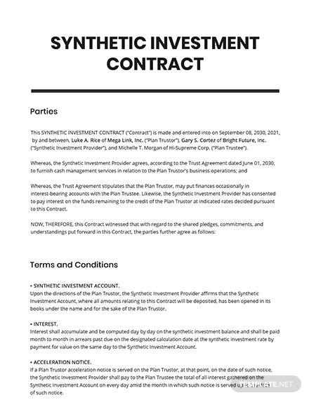 Synthetic Investment Contract