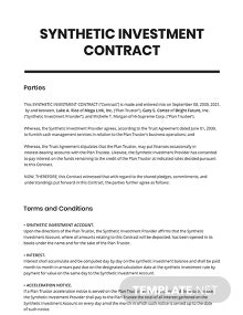 Synthetic Investment Contract Template