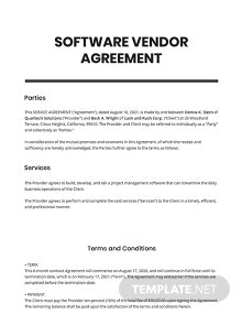 Software Vendor Agreement Template