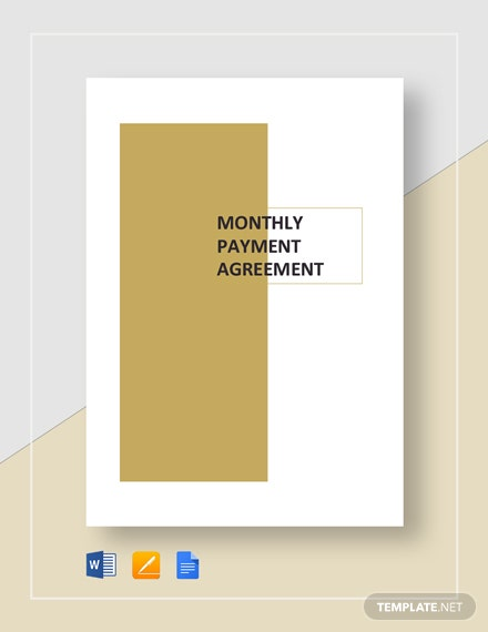 Monthly Payment Agreement Template