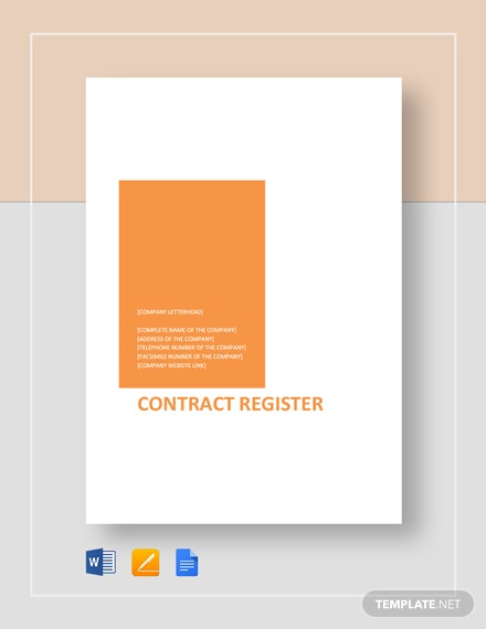 Contract Register Template