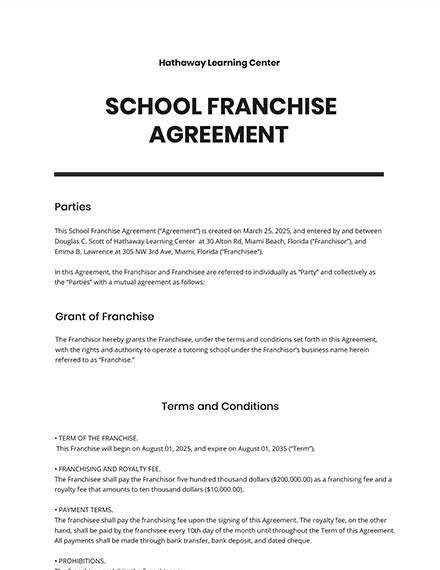 School Franchise Agreement Template