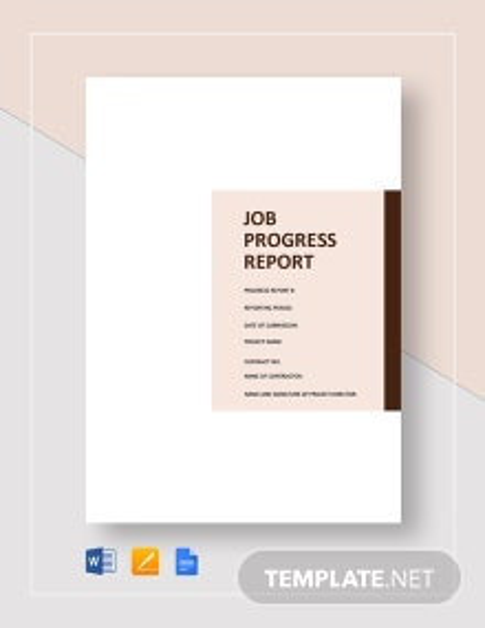 Job Progress Report Template
