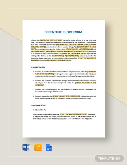 Debenture Short Form Template