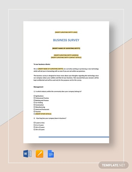 Business Survey Template