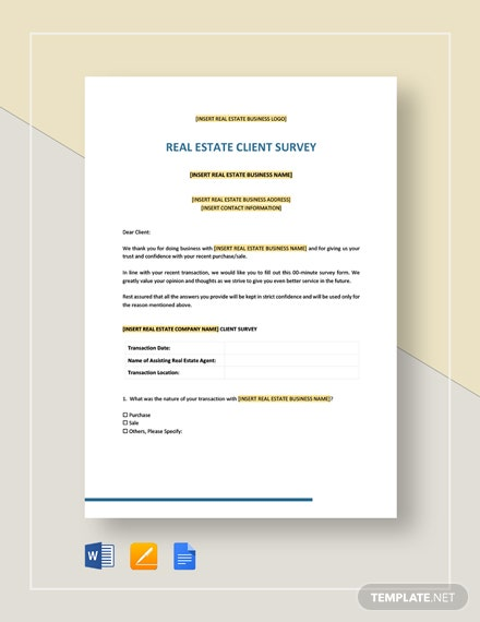 Real Estate Client Survey Template