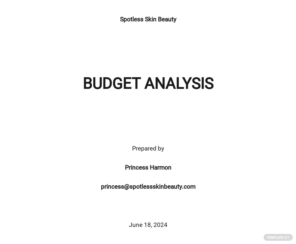 Budget Analysis Template