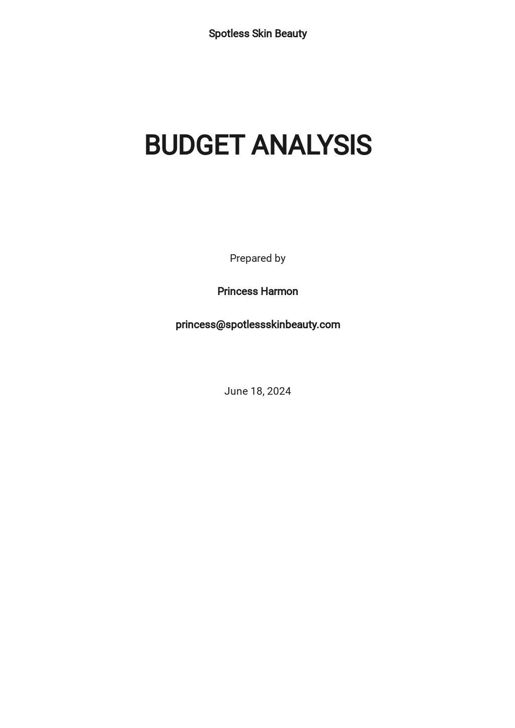 Budget Analysis Template
