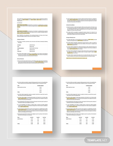 Car Rent To Own Contract Template