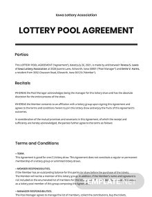 Lottery Pool Agreement Template