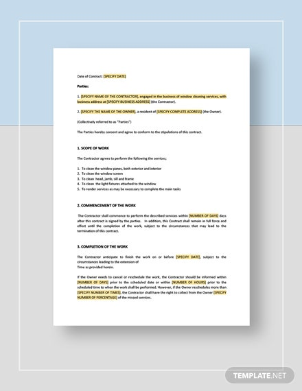 Window Cleaning Contract Template Word Google Docs