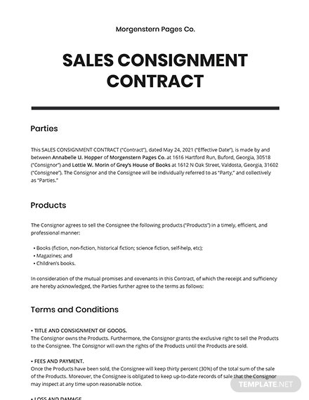 Sales Consignment Contract