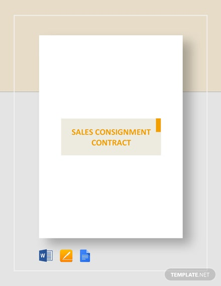 Sales Consignment Contract Template