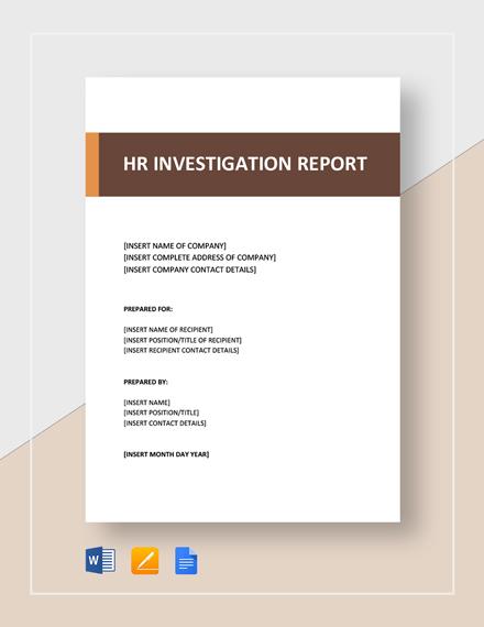 HR Investigation Report Template
