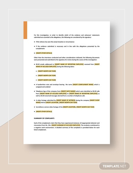 HR Investigation Report Download