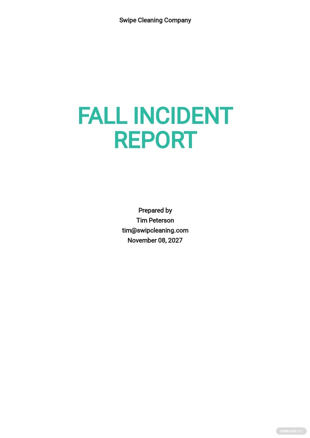 Fall Incident Report Template