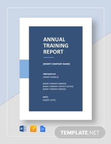 Annual Training Report Template