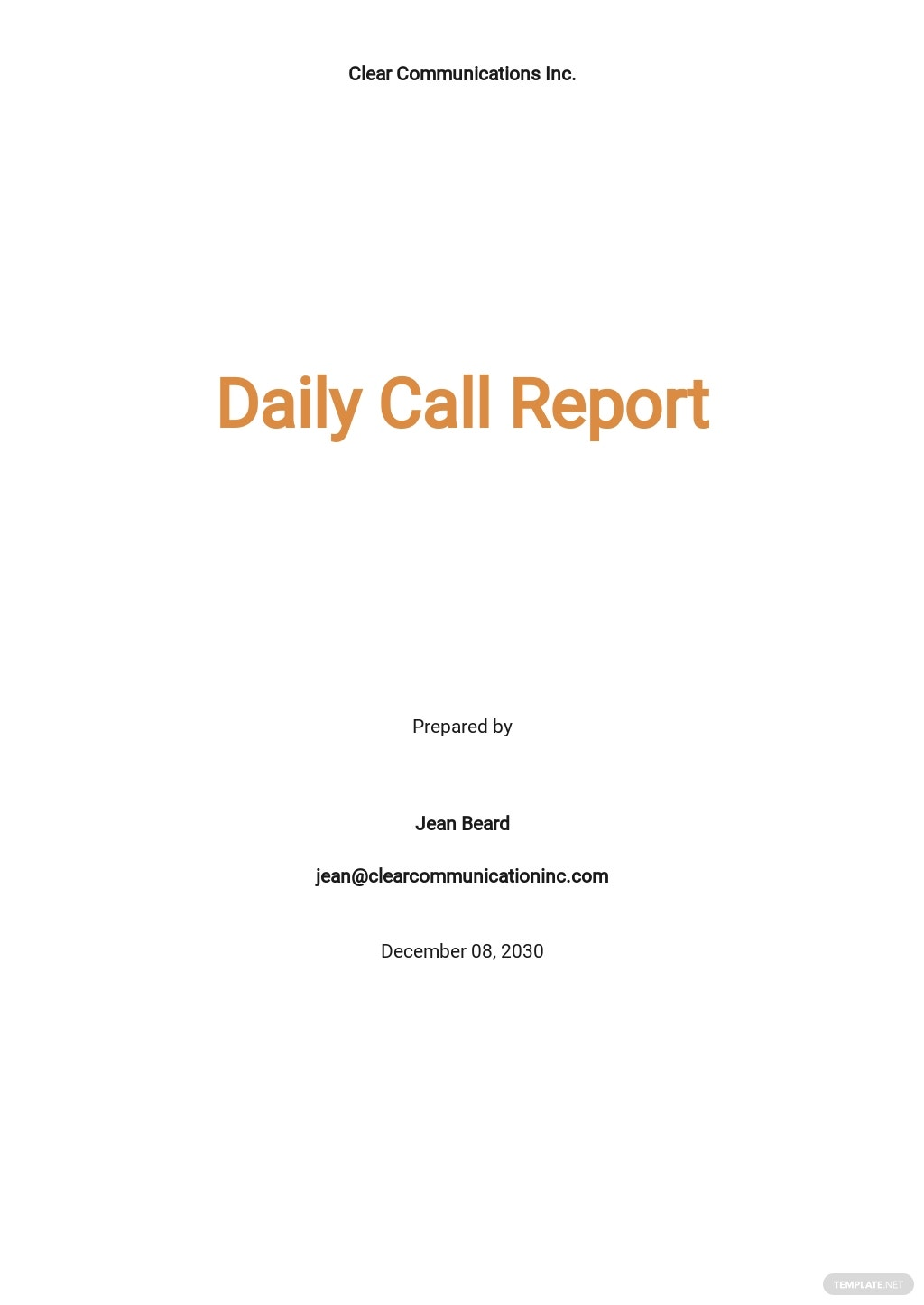 Daily Call Report Template