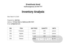 Inventory Analysis Template