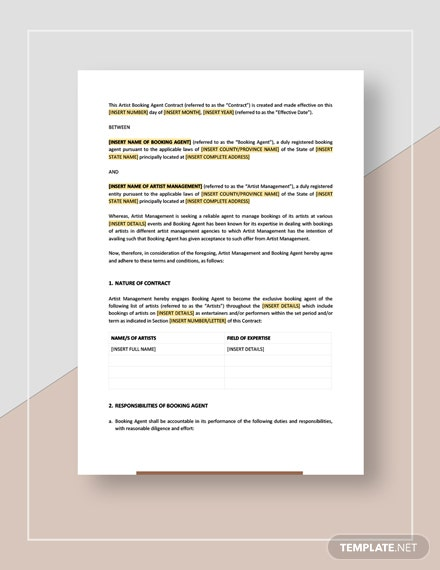 Artist Booking Agent Contract Template