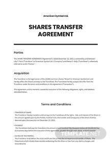 Shares Transfer Agreement Short Template